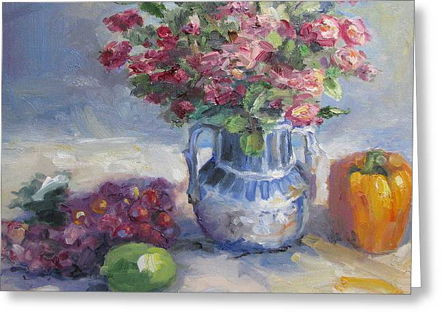 Roses And Pepper Still Life Greeting Card