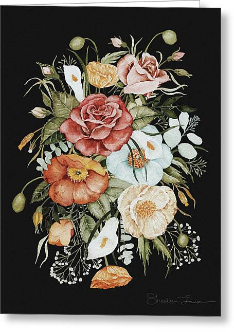 Roses And Poppies Bouquet Greeting Card