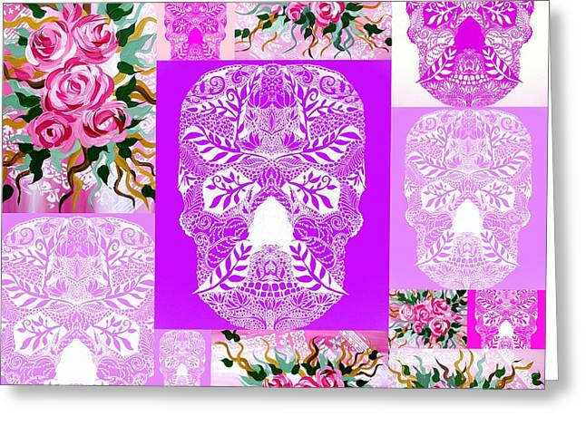 Roses And Skulls Collage Greeting Card