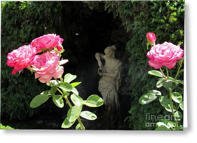 Roses And Statue Greeting Card by Julie Pacheco-Toye