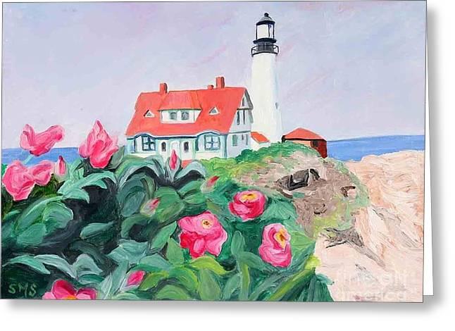 Roses At Portland Headlight Greeting Card by Stella Sherman