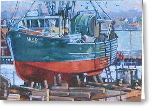 Roses Boat Yard Greeting Card by Michael McDougall