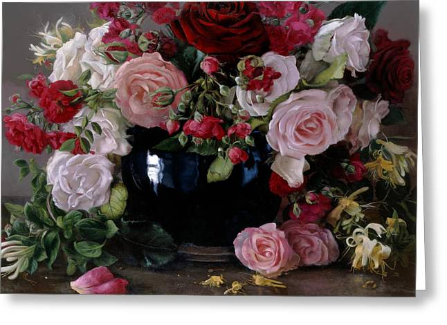 Roses Et Chevrefeuille Greeting Card