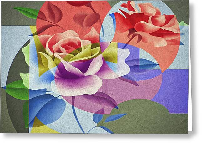 Greeting Card featuring the digital art Roses For Her by Eleni Mac Synodinos