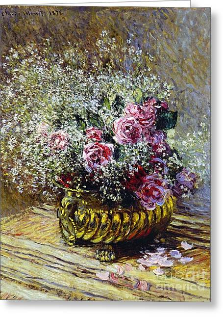In Bloom Paintings Greeting Cards - Roses in a Copper Vase Greeting Card by Claude Monet