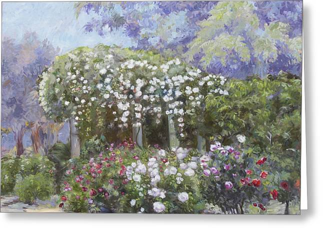 Roses In A Garden Greeting Card by Dominique Amendola