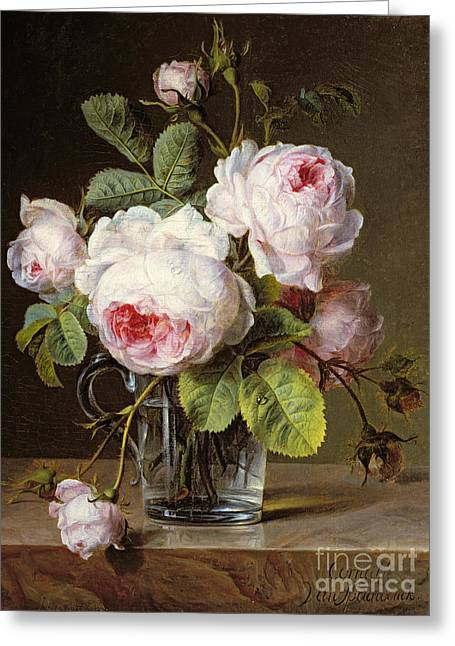 Roses In A Glass Vase On A Ledge Greeting Card