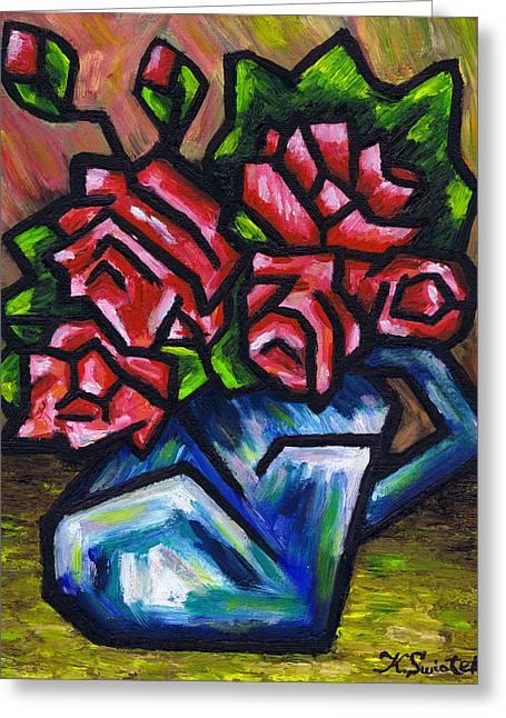 Roses In Blue Vase Greeting Card by Kamil Swiatek