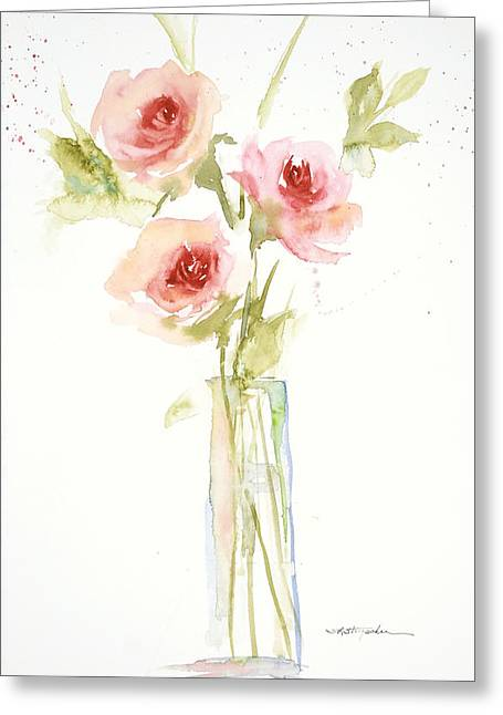 Greeting Card featuring the painting Roses In Glass Vase by Sandra Strohschein