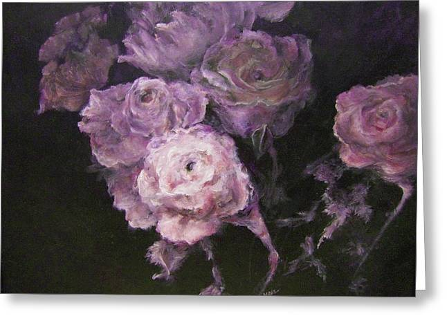 Roses In Mauve Greeting Card by Diane Kraudelt