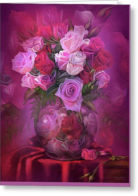 Roses In Rose Vase Greeting Card