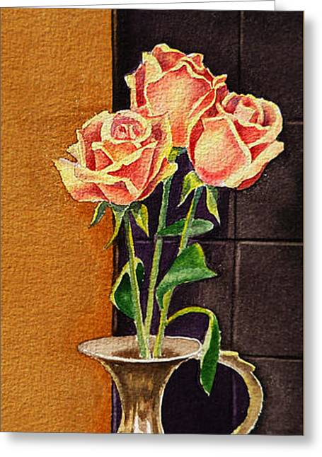 Roses Greeting Cards - Roses In The Metal Vase Greeting Card by Irina Sztukowski