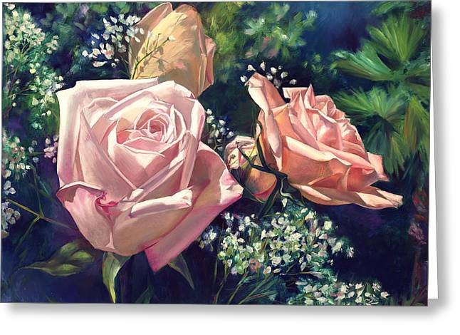 Roses In The Mist Greeting Card by Nancy Tilles