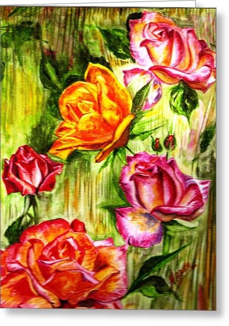 Greeting Card featuring the painting Roses In The Valley  by Harsh Malik