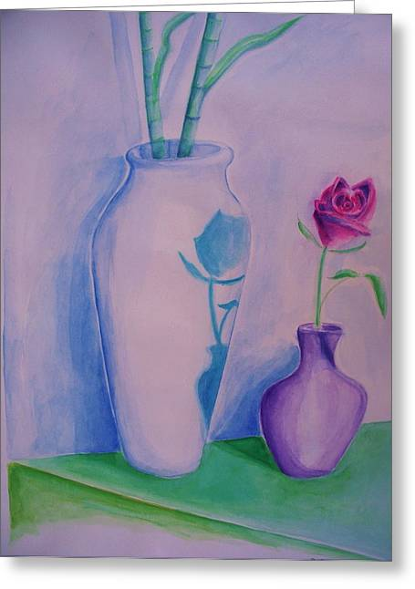 Greeting Card featuring the painting Roses  In Vase by Eric  Schiabor