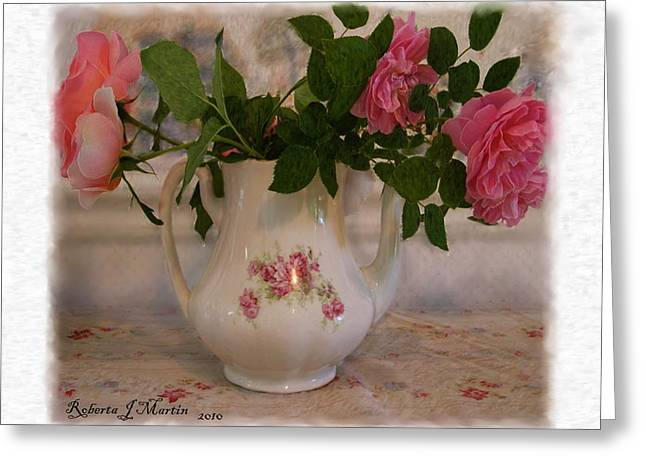 Roses On Breakfast Table  Greeting Card