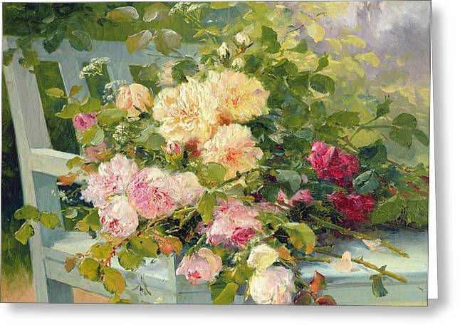Eugene Greeting Cards - Roses on the bench  Greeting Card by Eugene Henri Cauchois