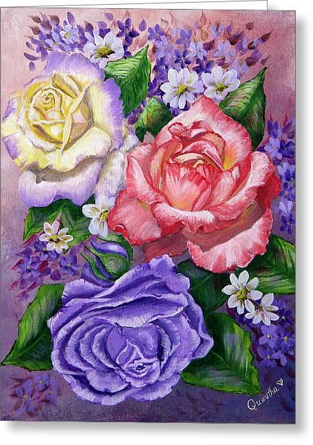Roses Greeting Card by Quwatha Valentine
