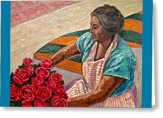 Roses To Sell, Mexico Greeting Card