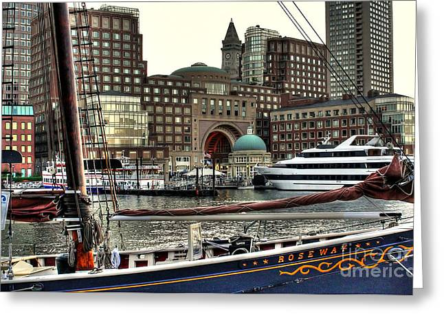 Greeting Card featuring the photograph Roseway Boston by Adrian LaRoque