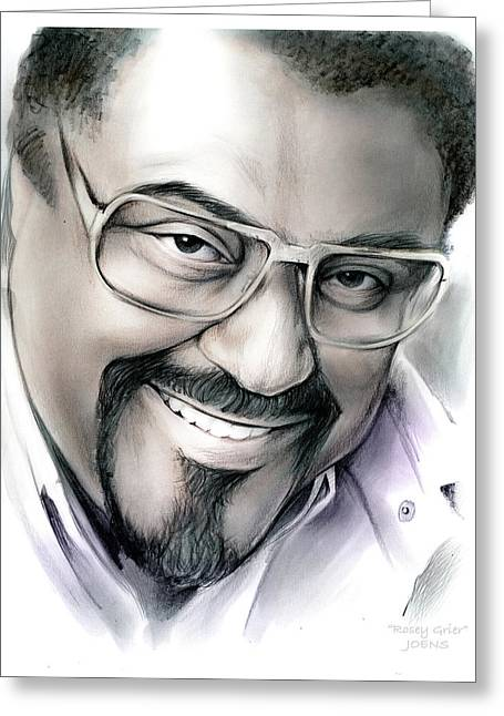 Rosey Grier Greeting Card by Greg Joens