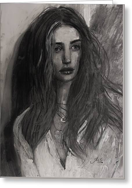 Greeting Card featuring the painting Rosie Huntington-whiteley by Jarko Aka Lui Grande