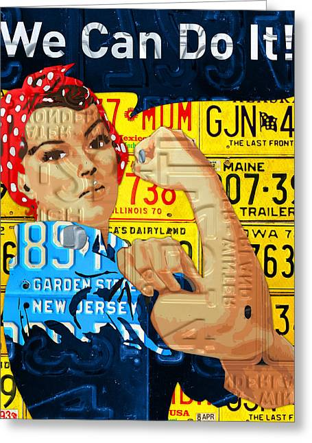 Rosie The Riveter We Can Do It Promotional Poster Recycled License Plate Art Greeting Card by Design Turnpike