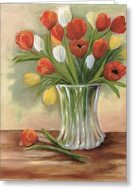 Glass Vase Greeting Cards - Rosies Gift Greeting Card by Carol Sweetwood