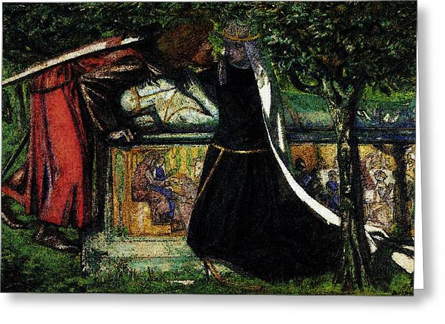 Rossetti Dante Gabriel Arthur S Tomb The Last Meeting Of Lancelot And Guinevere Greeting Card by Dante Gabriel Rossetti