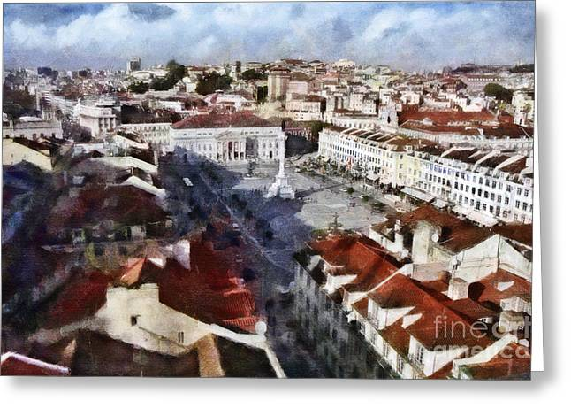 Greeting Card featuring the photograph Rossio Square by Dariusz Gudowicz