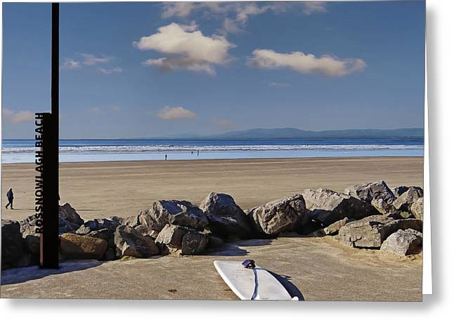 Rossnowlagh Beach On The Wild Atlantic Way With A Surfboard And Rocks Greeting Card