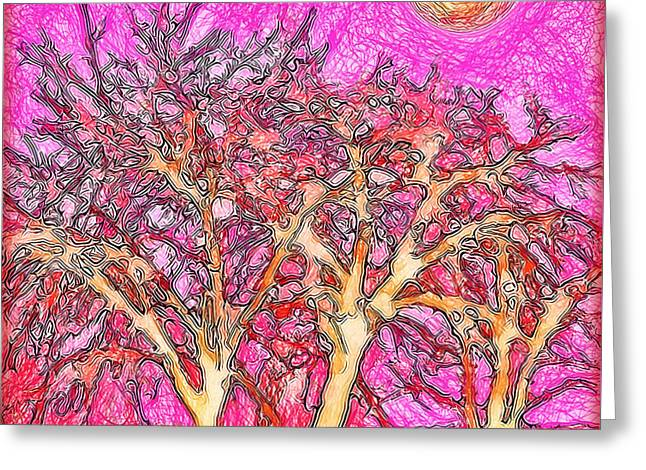 Greeting Card featuring the digital art Rosy Hued Trees - Boulder County Colorado by Joel Bruce Wallach