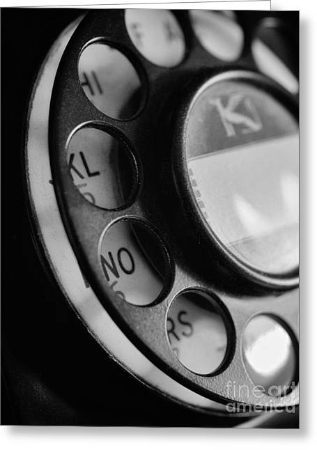 Rotary Dial In Black And White Greeting Card by Mark Miller