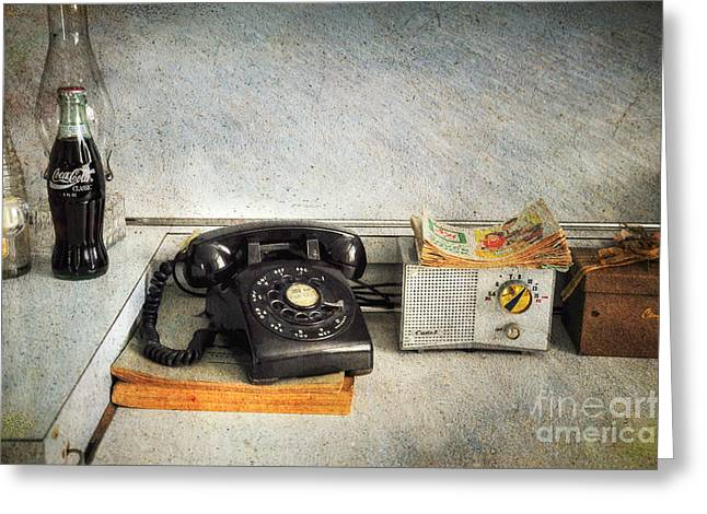 Told Greeting Cards - Rotary Dial Phone in Black S and H Stamps Greeting Card by Paul Ward