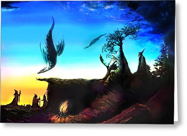 Rotatable Art Wizards Walking With Dragons Greeting Card