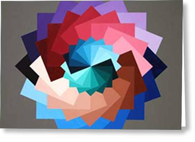 Rotating Squares Greeting Card by Marston A Jaquis