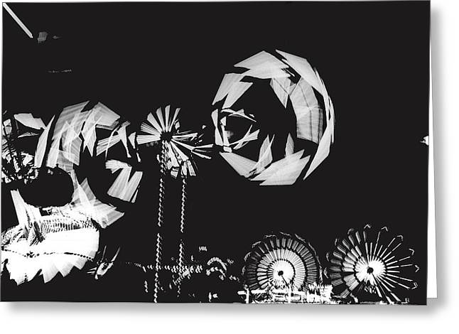 Rotating Wheels Midway Arizona State Fair Phoenix 1967 Greeting Card by David Lee Guss
