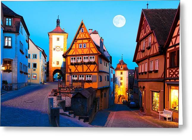 Gothic Germany Greeting Cards - Rothenburg ob der Tauber 01 Greeting Card by Tom Uhlenberg
