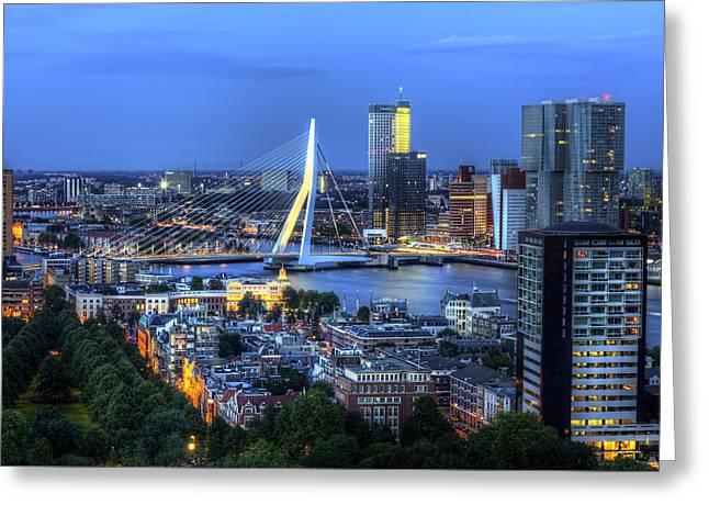 Greeting Card featuring the photograph Rotterdam Skyline With Erasmus Bridge by Shawn Everhart