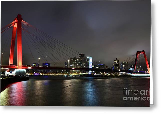 Rotterdam - Willemsbrug At Night Greeting Card