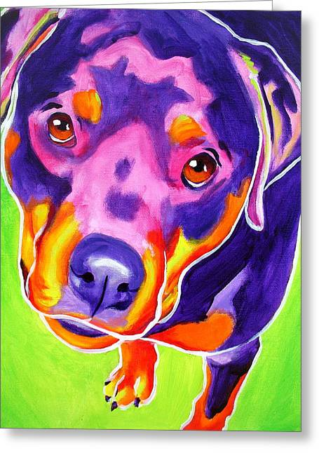 Alicia Vannoy Call Paintings Greeting Cards - Rottweiler - Summer Puppy Love Greeting Card by Alicia VanNoy Call
