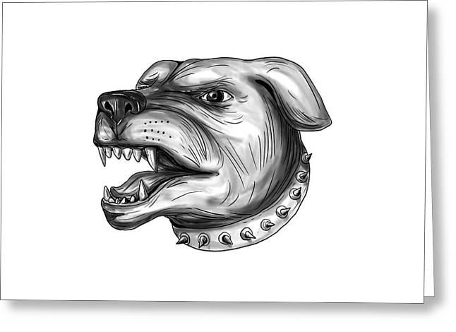 Rottweiler Dog Head Growling Tattoo Greeting Card by Aloysius Patrimonio