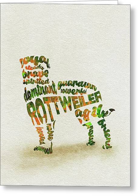 Greeting Card featuring the painting Rottweiler Dog Watercolor Painting / Typographic Art by Ayse and Deniz