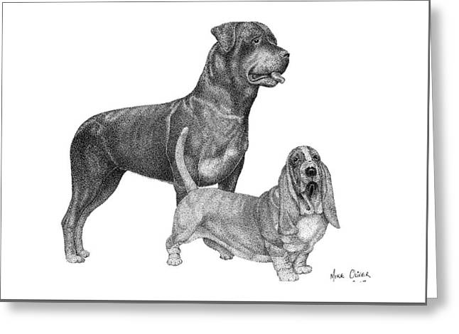 Rottweiler Drawing Pointillism Greeting Card