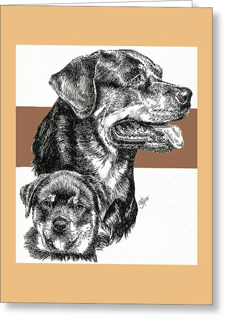 Rottweiler Father And Son Greeting Card by Barbara Keith