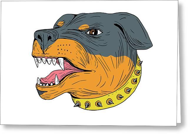 Rottweiler Guard Dog Head Aggressive Drawing Greeting Card