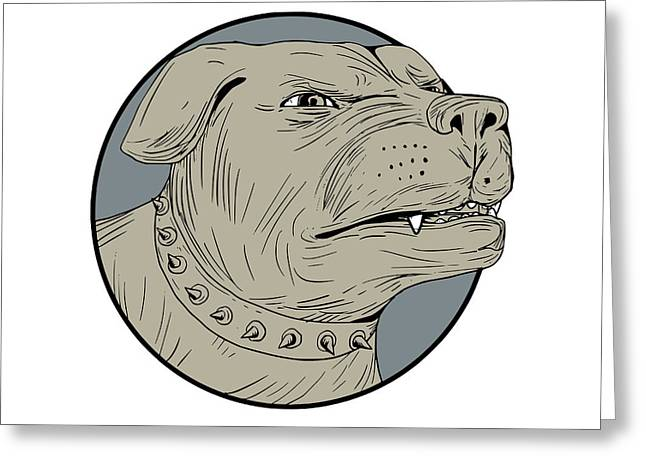 Rottweiler Guard Dog Head Angry Drawing Greeting Card