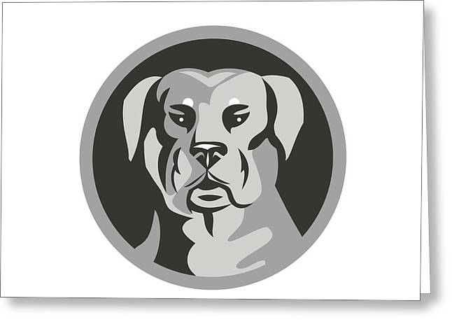 Rottweiler Guard Dog Head Circle Black And White Greeting Card