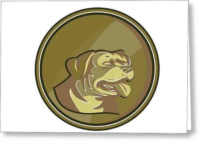 Rottweiler Guard Dog Head Gold Medallion Retro Greeting Card