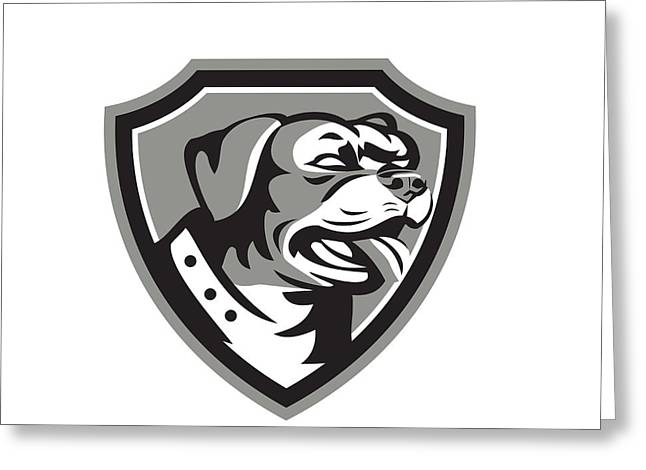 Rottweiler Guard Dog Shield Black And White Greeting Card